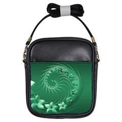 Green Abstract Flowers Girl s Sling Bag