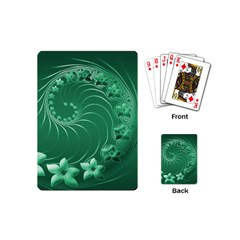 Green Abstract Flowers Playing Cards (mini)