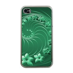 Green Abstract Flowers Apple iPhone 4 Case (Clear)