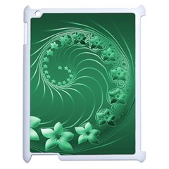 Green Abstract Flowers Apple iPad 2 Case (White)