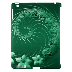 Green Abstract Flowers Apple iPad 3/4 Hardshell Case (Compatible with Smart Cover)