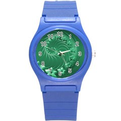 Green Abstract Flowers Plastic Sport Watch (Small)