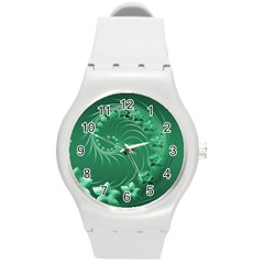 Green Abstract Flowers Plastic Sport Watch (Medium)