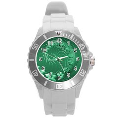 Green Abstract Flowers Plastic Sport Watch (Large)