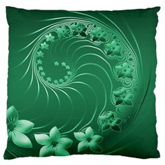 Green Abstract Flowers Large Cushion Case (one Side)