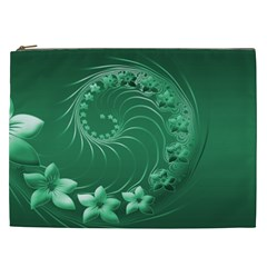 Green Abstract Flowers Cosmetic Bag (XXL)