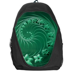 Green Abstract Flowers Backpack Bag