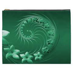 Green Abstract Flowers Cosmetic Bag (xxxl)