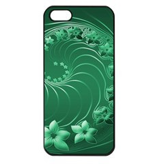 Green Abstract Flowers Apple iPhone 5 Seamless Case (Black)