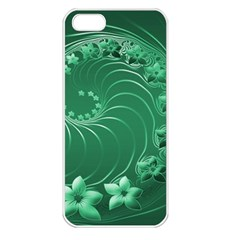 Green Abstract Flowers Apple iPhone 5 Seamless Case (White)
