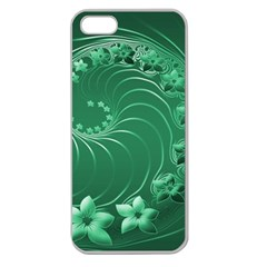 Green Abstract Flowers Apple Seamless Iphone 5 Case (clear)