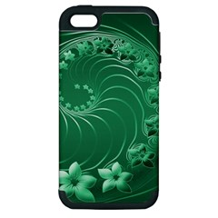 Green Abstract Flowers Apple iPhone 5 Hardshell Case (PC+Silicone)