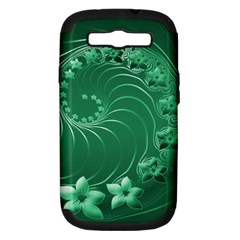 Green Abstract Flowers Samsung Galaxy S Iii Hardshell Case (pc+silicone)