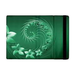 Green Abstract Flowers Apple Ipad Mini Flip Case