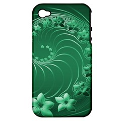 Green Abstract Flowers Apple iPhone 4/4S Hardshell Case (PC+Silicone)