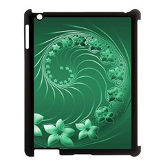 Green Abstract Flowers Apple Ipad 3/4 Case (black)