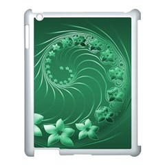 Green Abstract Flowers Apple iPad 3/4 Case (White)