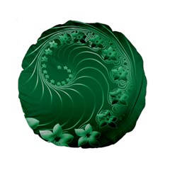 Green Abstract Flowers 15  Premium Round Cushion