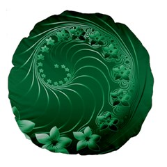 Green Abstract Flowers 18  Premium Round Cushion