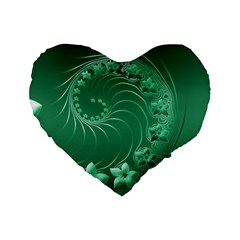 Green Abstract Flowers 16  Premium Heart Shape Cushion