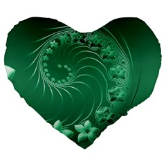 Green Abstract Flowers 19  Premium Heart Shape Cushion