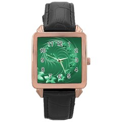 Green Abstract Flowers Rose Gold Leather Watch