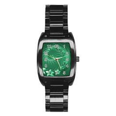 Green Abstract Flowers Men s Stainless Steel Barrel Analog Watch