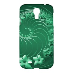 Green Abstract Flowers Samsung Galaxy S4 I9500 Hardshell Case