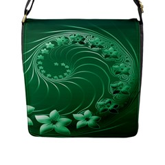 Green Abstract Flowers Flap Closure Messenger Bag (Large)