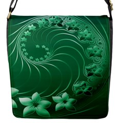 Green Abstract Flowers Flap closure messenger bag (Small)