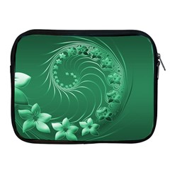 Green Abstract Flowers Apple iPad 2/3/4 Zipper Case