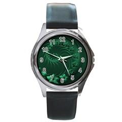 Dark Green Abstract Flowers Round Metal Watch (silver Rim)