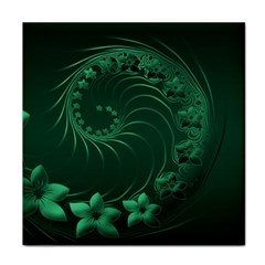 Dark Green Abstract Flowers Ceramic Tile