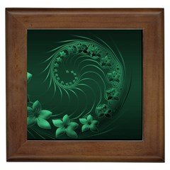 Dark Green Abstract Flowers Framed Ceramic Tile