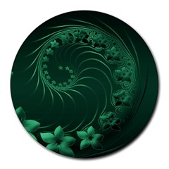 Dark Green Abstract Flowers 8  Mouse Pad (round)