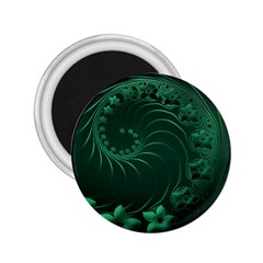 Dark Green Abstract Flowers 2.25  Button Magnet