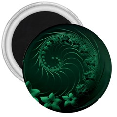 Dark Green Abstract Flowers 3  Button Magnet