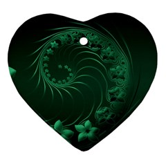 Dark Green Abstract Flowers Heart Ornament