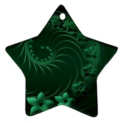 Dark Green Abstract Flowers Star Ornament