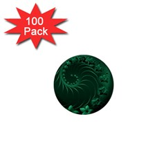 Dark Green Abstract Flowers 1  Mini Button (100 pack)