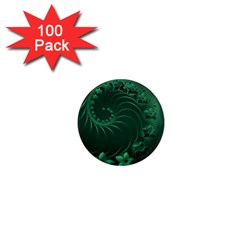 Dark Green Abstract Flowers 1  Mini Button Magnet (100 Pack)