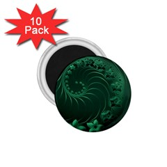 Dark Green Abstract Flowers 1.75  Button Magnet (10 pack)