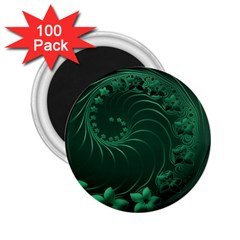 Dark Green Abstract Flowers 2.25  Button Magnet (100 pack)