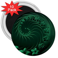 Dark Green Abstract Flowers 3  Button Magnet (10 pack)