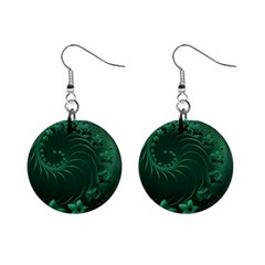 Dark Green Abstract Flowers Mini Button Earrings