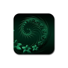 Dark Green Abstract Flowers Drink Coasters 4 Pack (Square)