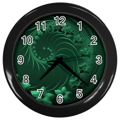 Dark Green Abstract Flowers Wall Clock (Black)