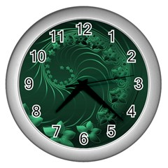 Dark Green Abstract Flowers Wall Clock (Silver)