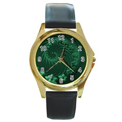 Dark Green Abstract Flowers Round Metal Watch (Gold Rim)