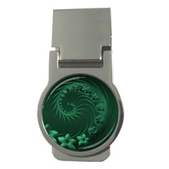 Dark Green Abstract Flowers Money Clip (Round)